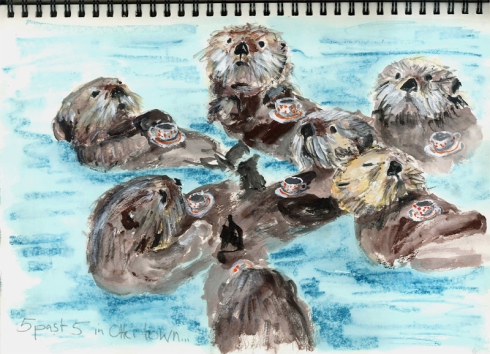sketchbook page: sea otters having tea
