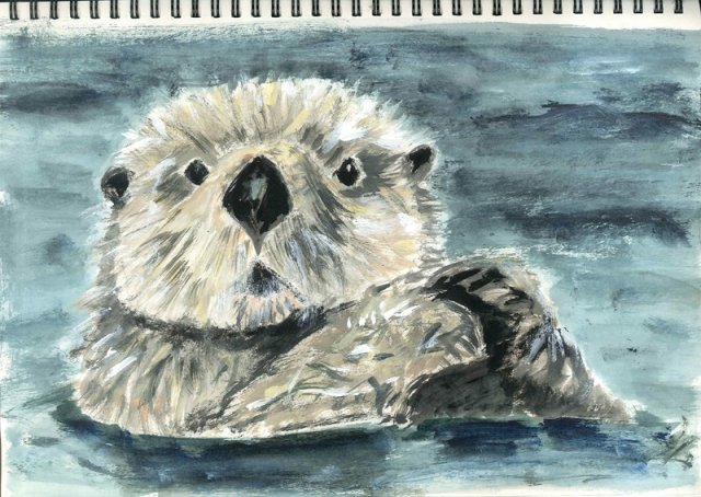 Sketchbook page: sea otter portrait