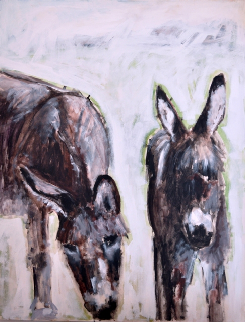 Mum and baby donkey: acrylic on canvas