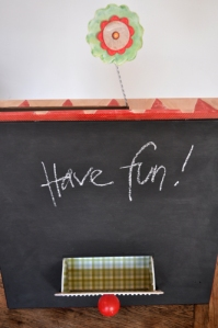 chalk board box with opne drawer...