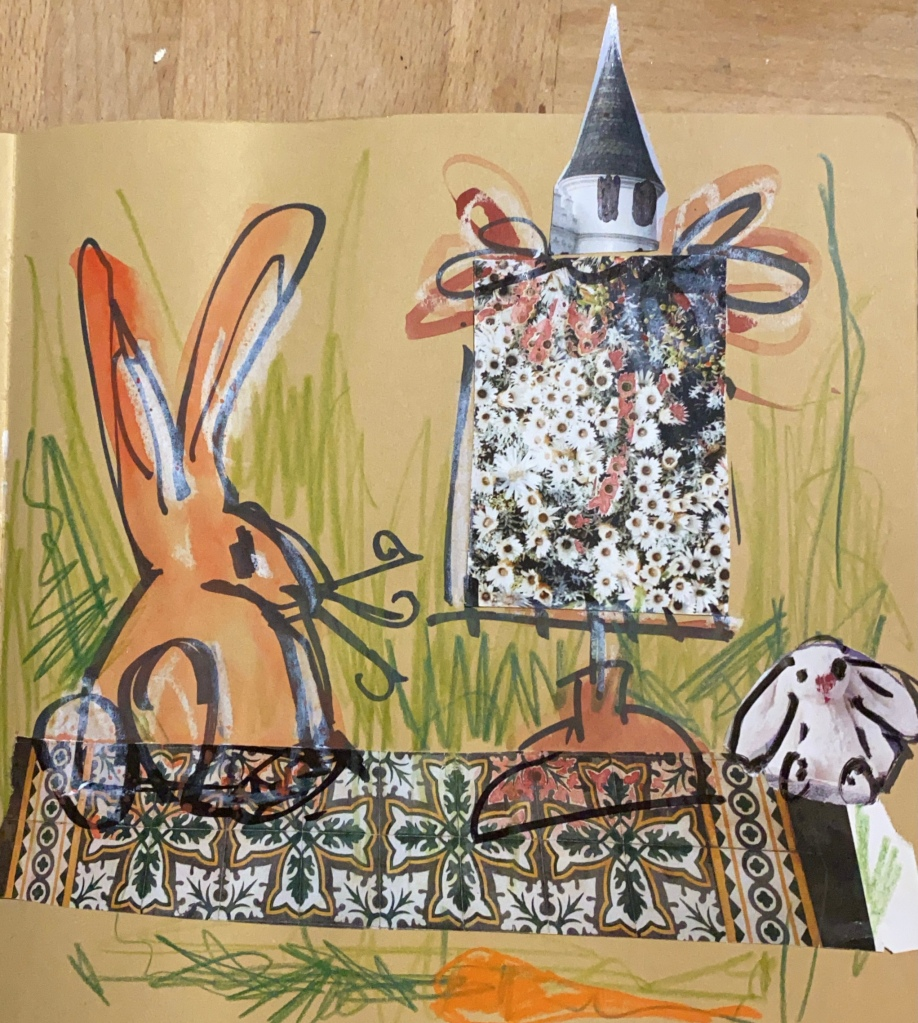 mixed media  drawing with rabbits